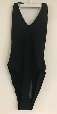 Nasty Gal REhab Zella Ribbed Scoop Neck Black Open Back Bodysuit NG4