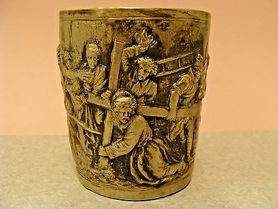 ANTIQUE RARE Unique RELIGIOUS SILVER 800 CHALICE CUP JESUS CARRYING The CROSS
