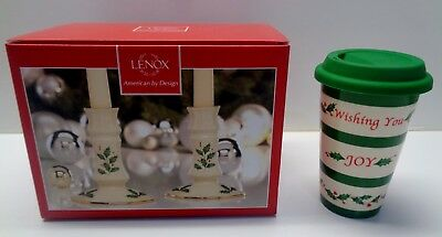 LENOX ~ Christmas HOLIDAY CANDLE STICKS AND TRAVEL TUMBLER New in Box