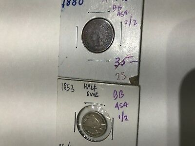BB454 lot of 2 obsolete coins 1853 half Dime silver & scarce 1880 Indian cent