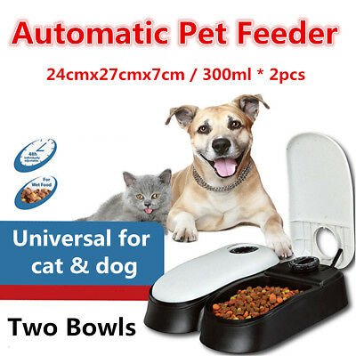 Universal Cat Dog Automatic Pet Feeder Timing Device 2-bowls Design Plastic New