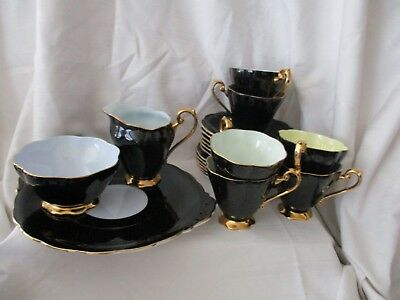 Royal Standard black gold pastel dessert service 21 pc lot sugar creamer cup