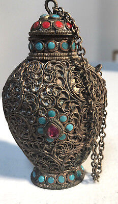Antique Chinese Snuff bottle Filigree with Red coral turquoise amethyst