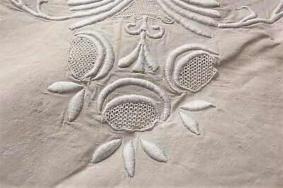 """Vintage French PURE Floppy Linen Sheet UNUSED Embroidery JR Monogram 78"""" x 108"""""""