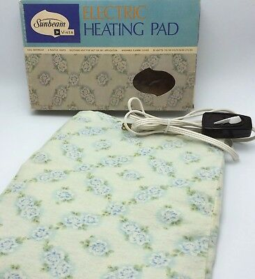 Vtg 1968 Sunbeam Vista Blue Flowered Electric Heating Pad Original Box L M H