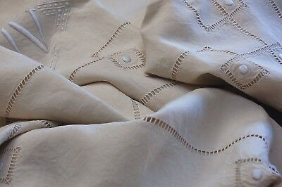 "Vintage French PURE Linen Sheet Floppy VV Monogram Cream Embroidery 88"" x 110"""