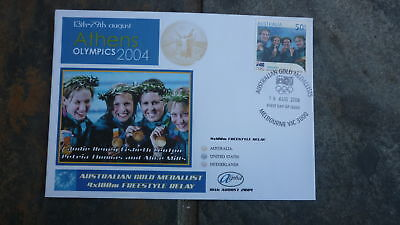 2004 Swim Team Australian Olympic Gold Medal Win Stamp Alpha Fdc