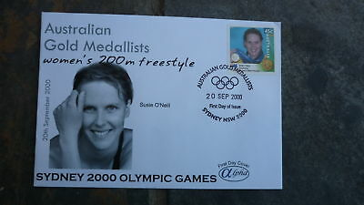 2000 Susie O'neill Australian Olympic Gold Medal Win Stamp Alpha Fdc