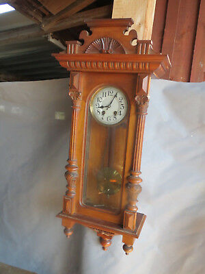 Wall Clock Henri II - Chime - Pendulum Old walnut blond Carved