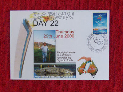 Souvenir Sydney Olympics Torch Relay Cover - Day 22, Darwin, Gus Williams