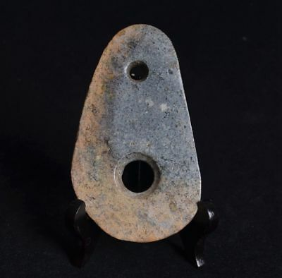 Chinese QiJia Culture Style Sacrificial Ceremony Two Holes Stone Axe-JR12731