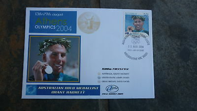 2004 Grant Hackett Australian Olympic Gold Medal Win Stamp Alpha Fdc