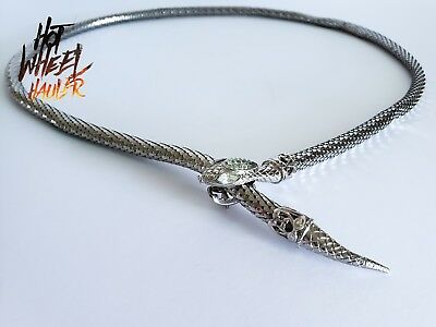 Vintage Silver Tone Mesh Snake Scales Necklace Metal Belt Rhinestone Eyes