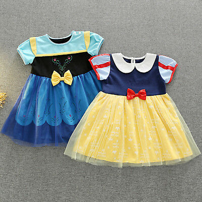 Baby Kids Girl Princess Snow White Anna Fancy Tulle Mini Dress Halloween Costume