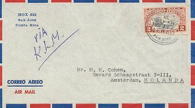Costa Rica: 1952: air mail San Jose to Amsterdam