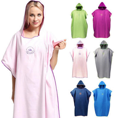 Unisex Beach Bath Microfiber Surf Poncho Robe With Hood Wetsuit Changing Towel