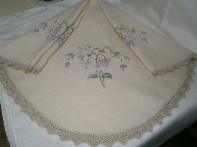 Large Square Vintage Embroidered Pure Linen Table Cloth - Fushia Flower Design