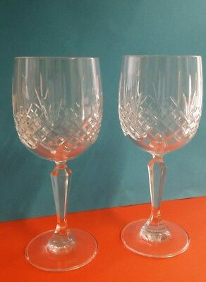 2 Edinburgh Crystal Kenmore Pattern Large Wine Glasses 7 Inchs Mint Condition