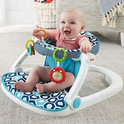 Baby Sit Me Up Floor Seat Bouncer Entertainment Foldable & Washable Blue Geo