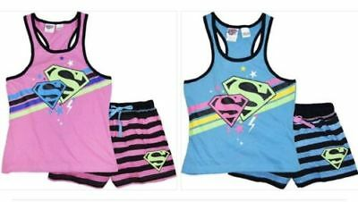 2 x Girls size 8  BLUE & PINK  SUPERGIRL summer pyjamas pjs Super Girl NEW