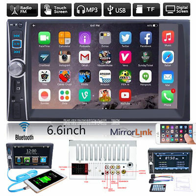 "6.6"" HD Car Stereo MP3 Player Double 2 DIN Bluetooth Touch FM Radio USB TF AUX"