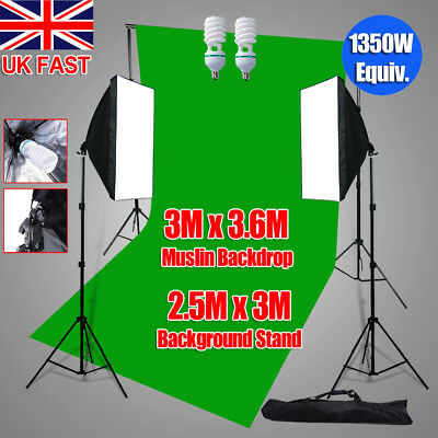 1350W Studio Softbox Continuous Lighting 3x3.6m Green Muslin Backdrop Stand Kit