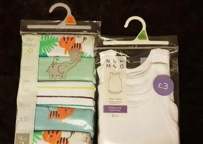 Baby Vests Tiny Baby body suits X8 bundle BNWT RRP £9.50