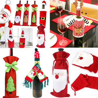 Christmas Red Wine Bottle Cover Bags Xmas Party Decor supplies Beer Dinner Gift