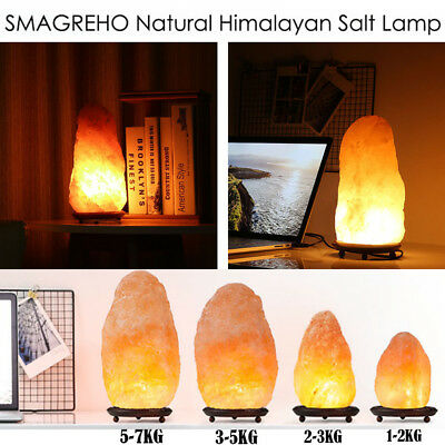 2018 Himalayan Natural Ionic Rock Crystal Salt Night Lamp Air Purifier Dimmer US