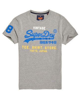 Neues Herren Superdry Shirt Shop Tri Tee Montana Grau