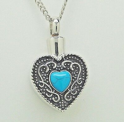 Cremation Jewelry, Heart Urn Necklace with Turquoise || December Birthstone