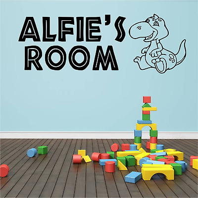 Boys Personalised Name Dinosaur Wall Art Sticker Quote Bedroom Playroom Nursery