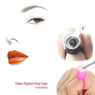 Microblading Pigment Rings With Cups Caps Tattoo Ink Holder Permanent Makeup FR