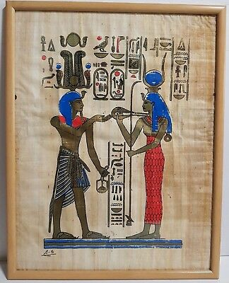 Unusual Rare Antique Egyptian Hand Painted On Papyrus Scene signed Framed