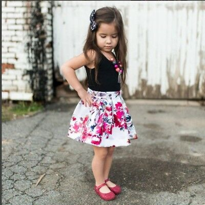 Toddler Baby Girls Vest Tops+Floral Skirt Summer Kids Outfits Set Sundress 2PCS