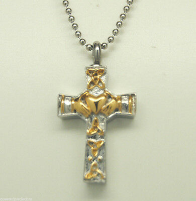 Two-Tone Claddagh Cross Cremation Urn Necklace || Gold & Siver Urn Jewelry
