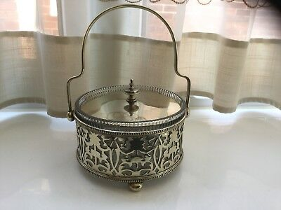 Lovely Antique Silver Plated And Glass Butter Dish
