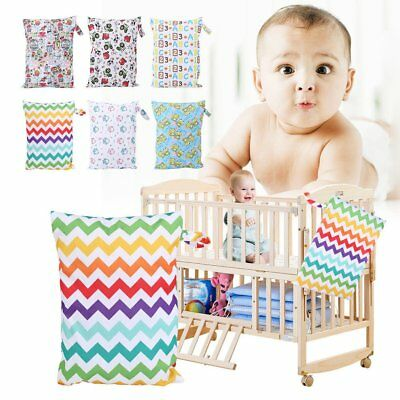 Baby Waterproof Nappy Reusable Washable Dry Wet Cloth Zipper Diaper Tote Bag NEW