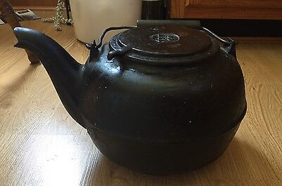 """Vintage RARE heavy 2 Gallon Cast Iron 9"""" Tall and 13"""" T I W Co.Tea Kettle w LID"""