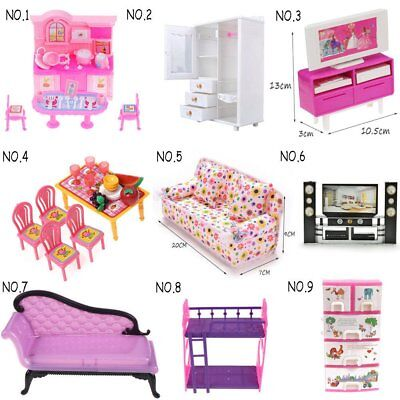 Doll house Accessories Dinnerware Cabinet Mini Furnitures for Barbie Doll