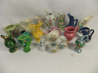 VINTAGE LOT of 18 SMALL CERAMIC PITCHERS CREAMERS: JAPAN, MEXICO, PLUS+