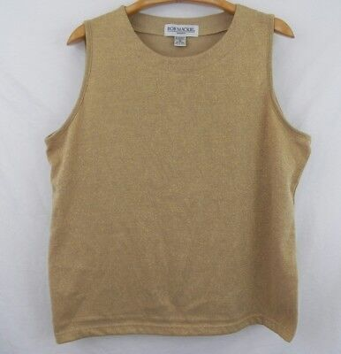 accd5690c72931 Women s Vintage Bob Mackie Studio Sleeveless Gold Metallic Blouse Top Size  1X