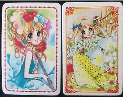 Swap Playing Cards 2 Japanese 1980's  Wide Eye Girls Anime & Flowers A252