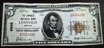 1929 $5 Dollar Bill Brown Seal National Currency Of Lynnville National Bank