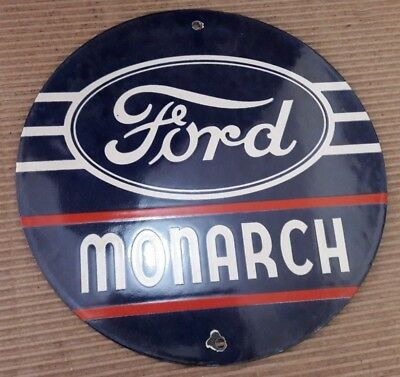 """Porcelain Ford Monarch  Enamel Sign 6"""" Inches Round"""