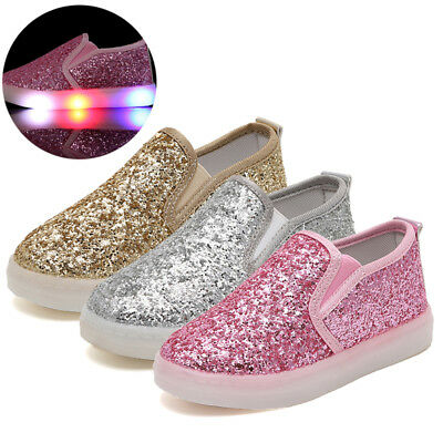 Toddler Kids Boys/Girls LED Shoes Light Up Sequins Trainers Sneakers Slip On New