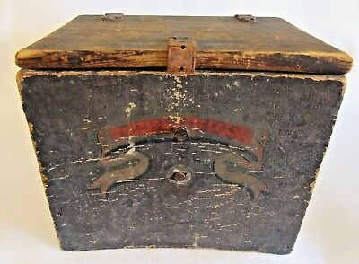 Circa 1825 Wooden Document Box with Wonderfull Front Panel Painting