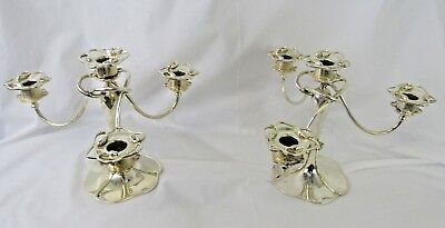 Art Deco Standard Silver Co. Ltd. Pair of Lily Pad Candle Holders.
