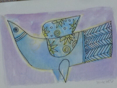 """PETER MITCHEV Hand block print """"Bird"""" with water color accents signed in pencil"""