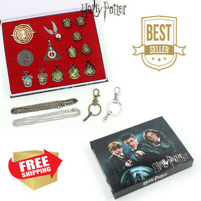 Box Fashion Cool 14PCS Cosplay Decorate Rings Necklace for Harry Potter Fans